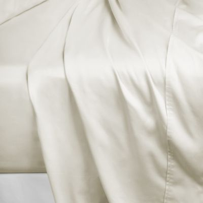 600-Thread-Count 104-Inch x 98-Inch Cotton Sateen King Flat Sheet in Ivory
