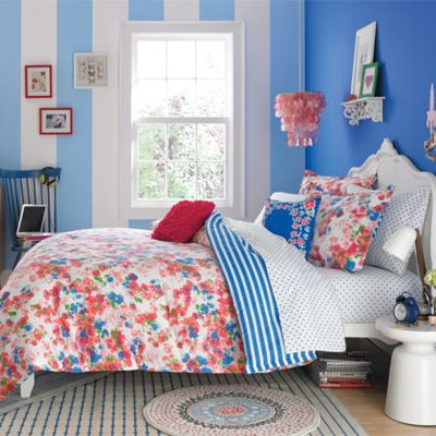 Teen Vogue® Rosie Posie Reversible Full/Queen Comforter Set in Red/Blue
