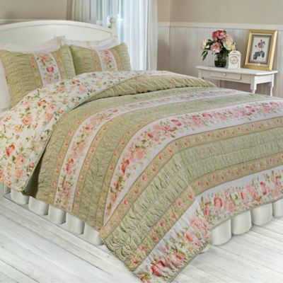 Trellis Rose Full/Queen Reversible Quilt Set in Beige