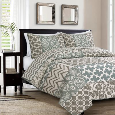 Emelina Reversible King Quilt Set in Grey