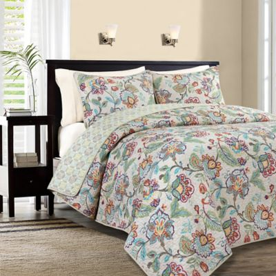 Brooks Reversible Full/Queen Quilt Set in Linen