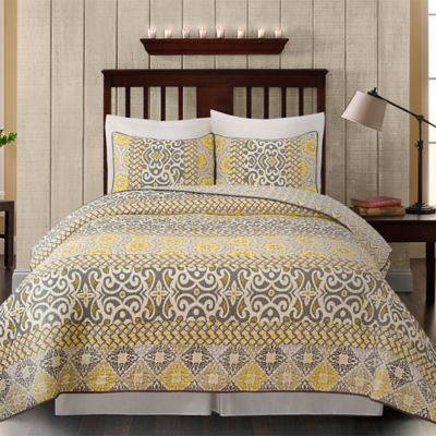 Gialla King Quilt Set in Grey/Yellow