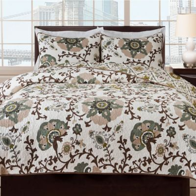 Charlotte Reversible Full/Queen Quilt Set in Beige