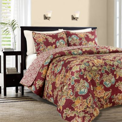 Lauren Reversible Full/Queen Quilt Set in Red