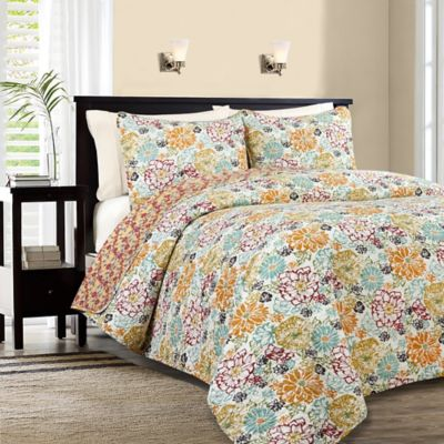 Karina Reversible King Quilt Set in Amber