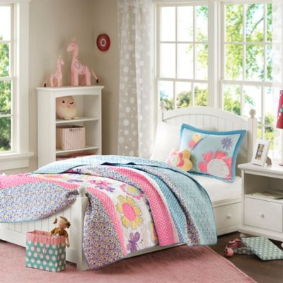 Mizone Kids Crazy Daisy 4-Piece Full/Queen Coverlet Set in Multi