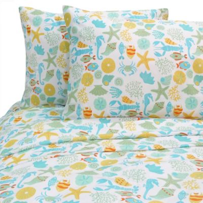 Seashore Whimsy California King Sheet Set in Blue