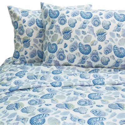 Shells Queen Sheet Set in Blue