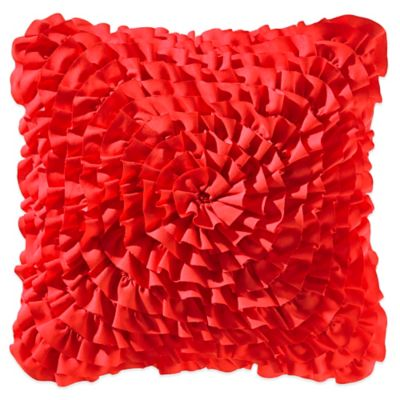 Teen Vogue® Rosie Posie Ruffle Square Throw Pillow in Red