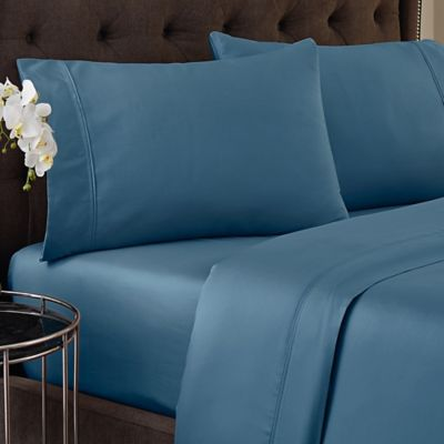 Crowning Touch 500-Thread Count Wrinkle Free and Fade No More Queen Sheet Set in Denim