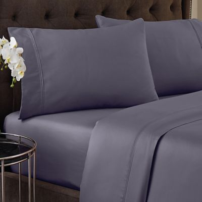 Crowning Touch 500-Thread Count Wrinkle Free and Fade No More Technology Full Sheet Set in Eggplant
