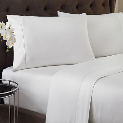 Crowning Touch 500-Thread Count Wrinkle Free and Fade No More Technology Full Sheet Set in White