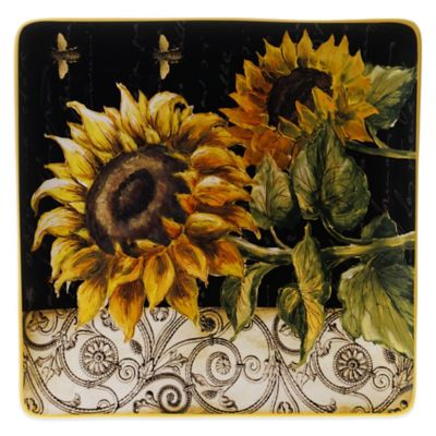 Certified International French Sunflower 14.5-Inch Square Platter