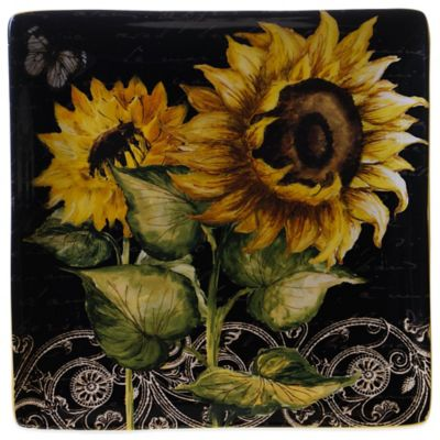 Certified International French Sunflower 12.5-Inch Square Platter