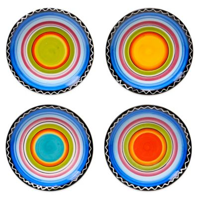 Certified International Tequila Sunrise Assorted Canape Plates (Set of 4)