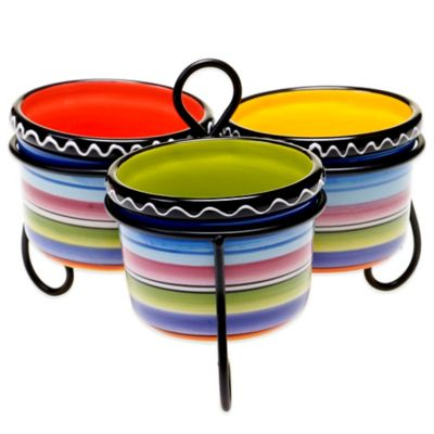 Certified International Tequila Sunrise 3-Bowl Server with Metal Stand