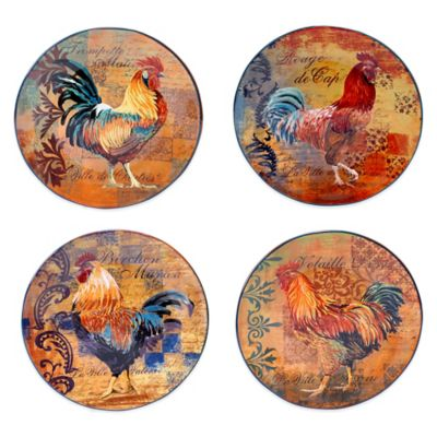Certified International Rustic Rooster Assorted Dinner Plates (Set of 4)