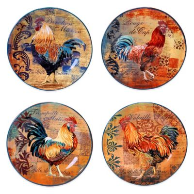 Certified International Rustic Rooster Assorted Dessert Plates (Set of 4)