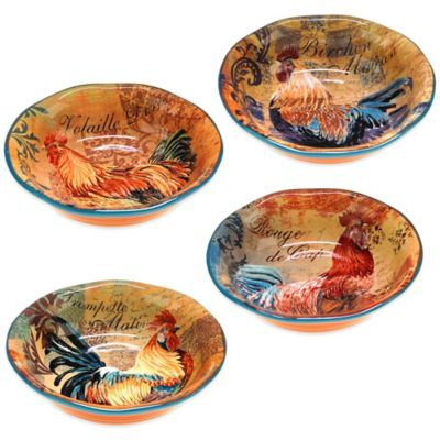 Certified International Rustic Rooster Assorted Soup/Pasta Bowls (Set of 4)