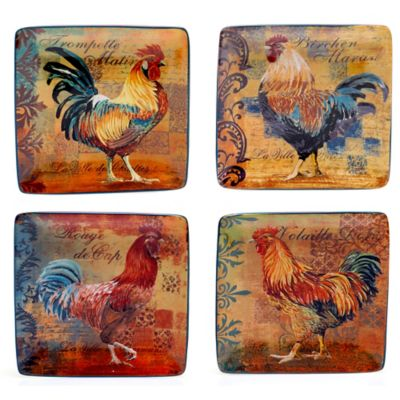 Certified International Rustic Rooster Assorted Square Canapé Plates (Set of 4)