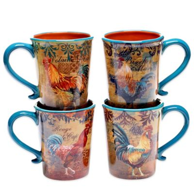 Certified International Rustic Rooster Assorted Mugs (Set of 4)