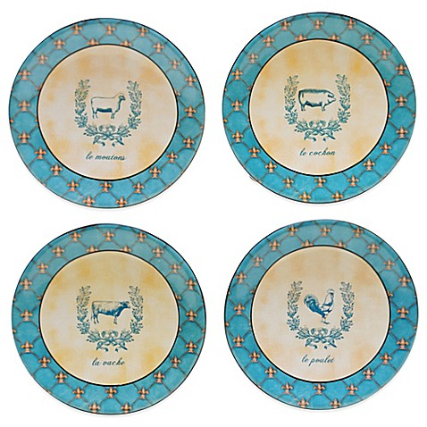 Certified international french barnyard canape plates set for What is a canape plate used for