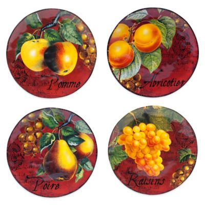 Certified International Botanical Fruit Assorted Dessert Plates (Set of 4)