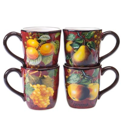 Certified International Botanical Fruit Assorted Mugs (Set of 4)