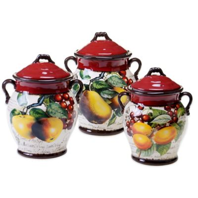 Certified International Botanical Fruit 3-Piece Canister Set