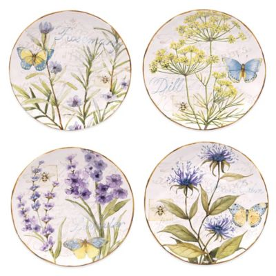 Certified International Herb Garden Dessert Plates (Set of 4)