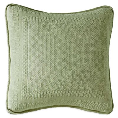 King Charles Matelassé 18-Inch Square Throw Pillow in Sage