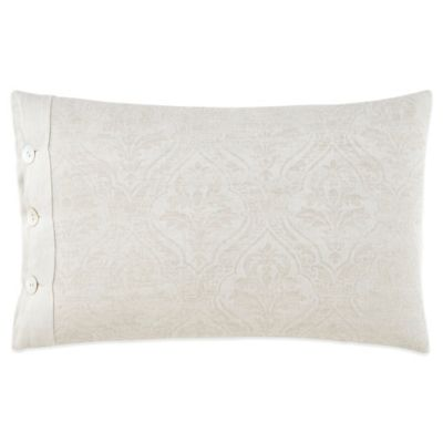 Waterford Couture® Luxury Italian-Made Lino Button Oblong Throw Pillow in Natural