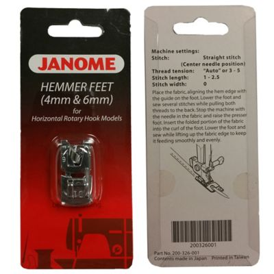 New Home 4mm and 6mm Hemmer Feet for Horizontal Rotary Hook Sewing Machines