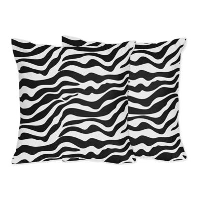 Sweet Jojo Designs Funky Zebra Print Pillow in Black/White (Set of 2)