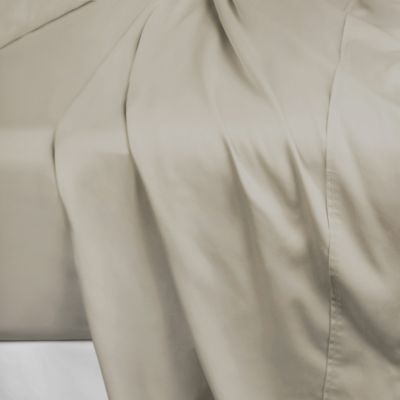 600-Thread-Count 106-Inch x 100-Inch Cotton Sateen California King Flat Sheet in Taupe