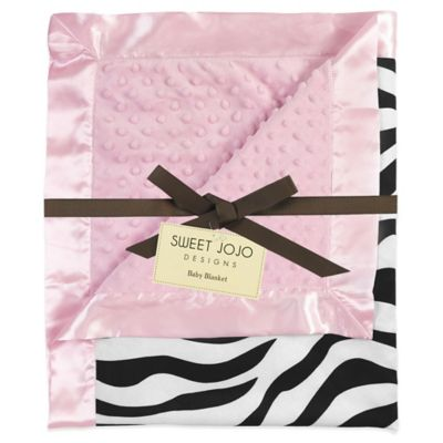 Sweet Jojo Designs Funky Zebra Baby Blanket in Pink