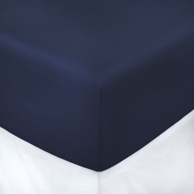 250-Thread-Count 39-Inch x 75-Inch with 3-Inch Deep-Pocket Twin Fitted Sheet in Navy