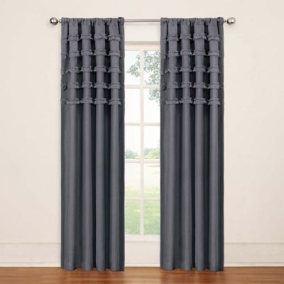 Insola Rihanna Rod Pocket 63-Inch Blackout Window Curtain Panel in Grey