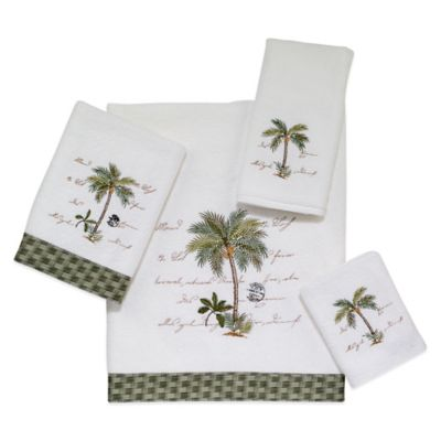 Avanti Palm Garden Hand Towel in White