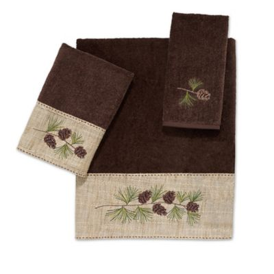 Avanti Pine Branch Washcloth in Mocha