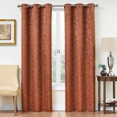 Insola Sphere Grommet Top 95-Inch Blackout Window Curtain Panel in Spice