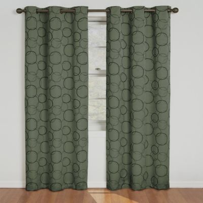 Insola Sphere Grommet Top 63-Inch Blackout Window Curtain Panel in Sage