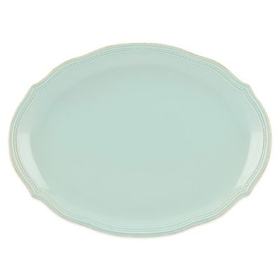 Lenox® French Perle Bead Oval Platter in Ice Blue