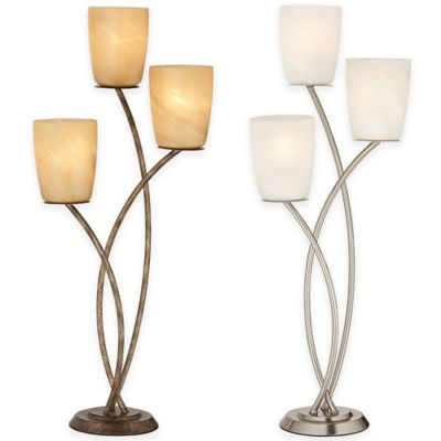 Pacific Coast Lighting Metro Plaza 3-Light Table Lamp in Brushed Nickel with Glass Shade