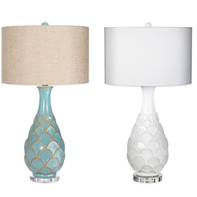 Pacific Coast Lighting Pacific Fan Table Lamp in Turquoise with Linen Shade