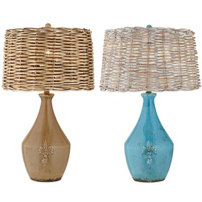 Pacific Coast Lighting Urban Pottery Vase Table Lamp in Turquoise with Wicker Rattan Shade