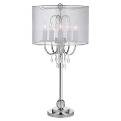 Sochi Sophistication Table Lamp in Chrome with Organza Shade