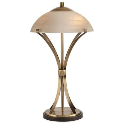 Arcade Table Lamp in Antique Brass with Alabaster Glass Shade
