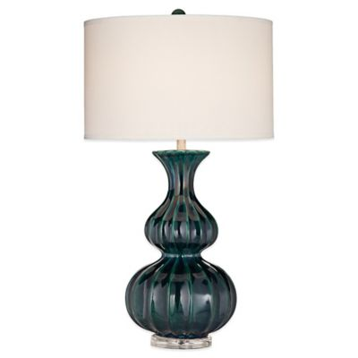Avenal Table Lamp in Blue with Weave Fabric Shade