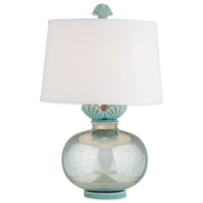 Paradise Falls Table Lamp in Turquoise with Linen Shade